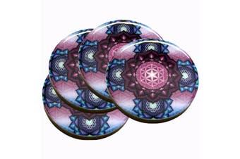 Flower of Life Sacred Geometry Drinks Print Wood Coaster Set of 4 tableware