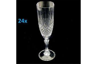 24 Premium Clear Plastic Disposable Champagne Flutes Wine Drink Glasses