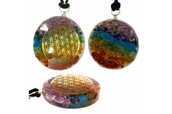 Pendant Flower of Life 7 Chakra Pendant Crystal Orgone Gemstone Orgonite Reiki