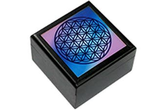 Flower of Life Sacred Geometry Wooden BOX Printed Jewellery Crystal Box 5x5cm