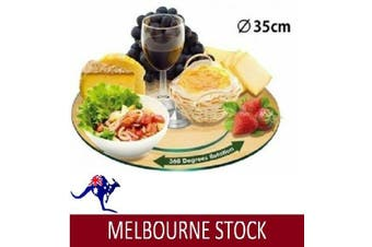 35CM TEMPERED GLASS LAZY LZY SUSAN DINING KITCHEN DININGWARE GIFT HOME