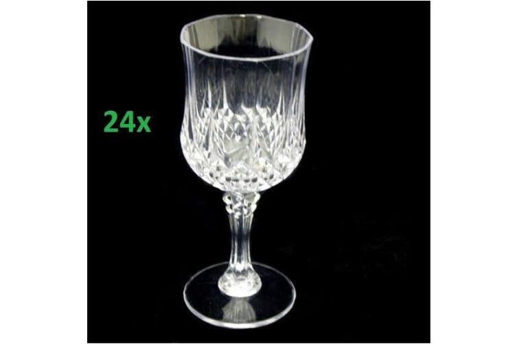 24 Premium Clear Plastic Drinking Reusable Wine Drink Glasses