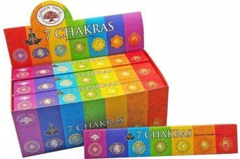 Incense Stick 7 Chakras Bulk 12 Packets 144 Sticks Premium Masala Green Tree