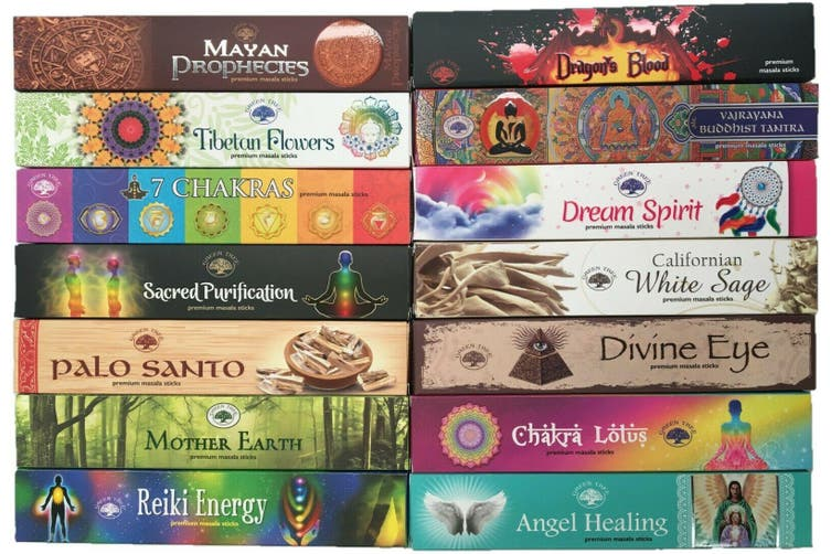 Green Tree 120 Sticks Incense Mixed Variety 10 Box Bulk Pack Assorted