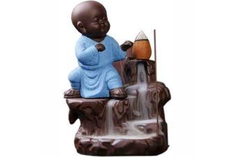 Kung Fu Monk Blue Backflow Cone Incense Burner Holder Waterfall Yoga