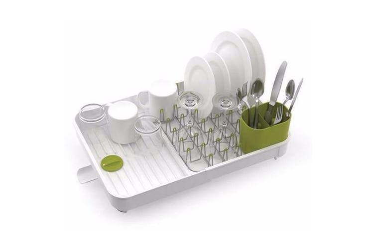 Joseph Joseph Extend Expandable Kitchen Dish Drainer Rack - White/Green