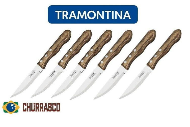 Jumbo Steak Knife Barbecue BBQ Knives Tramontina Polywood 6 piece BROWN Handle