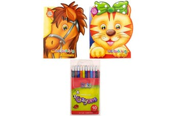 2 Kids Colouring Books Animal Included 10 Crayons Propelling Colours PVC Wallet