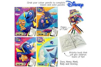 Finding Dory 4 Books 96 Pages Colouring Books for Kids Colour Pencils Included