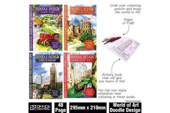 192 Pages Colouring Books for Kids Doodle Design Colour Pencils Included