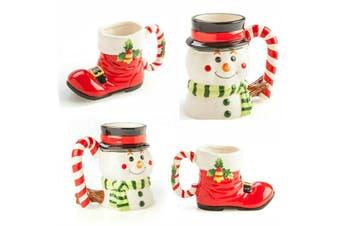 Set of Christmas Mug Snowman/Retro Shoes Decoration Xmas 2 pc Coffee Tea Mug Cup
