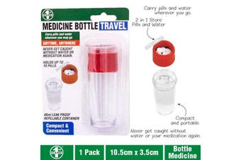 Pill Box Organiser Medicine Organiser Travel Pill Box with Water Bottle 40ml