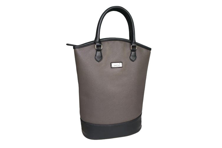 Sachi BYO Wine For 2 Bottle Insulated Cooler Bag Tote Carrier Purse Handbag Charcoal