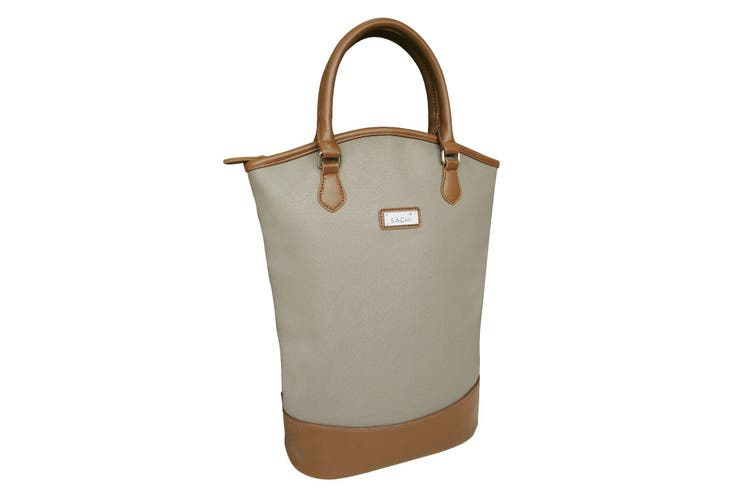 Sachi BYO Wine For 2 Bottle Insulated Cooler Bag Tote Carrier Purse Handbag Taupe