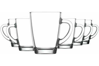 6 pk Glass Cup Glasses Mug Hot Cold Drink Coffee Latte Tea Heat Resistant 300ml