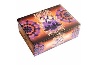 Om Namaste Meditation Wooden BOX Printed Jewellery Crystal Box 12x17cm