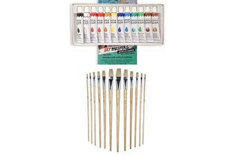 12 Acrylic Color Paint Tube Draw with Artist Painting Brush Kit Set