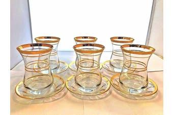 Pasabahce Uskudar Turkish Tea Cup and Saucers Golden Edge 12 piece 120ml