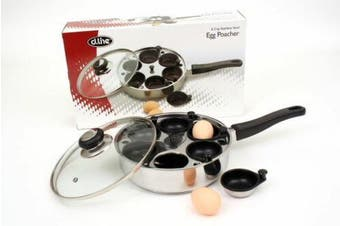 New 6 cup Non-Stick Egg Poacher Set Egg Cooker with Glass Lid Poached Cup