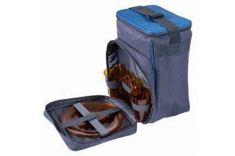 Picnic Cooler Bag Kit for 2 person with two plates tumblers forks spoons