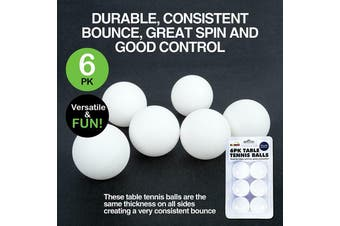 6 pieces White Table Tennis Balls Ping Pong Durable Bounce Plastic Game Seamless