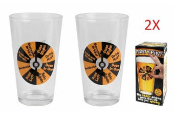 Beer Glass Party Pint Drinking Game Glasses Spin Win Funny Gift Party Bucks - 2 Glasses