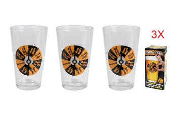 Beer Glass Party Pint Drinking Game Glasses Spin Win Funny Gift Party Bucks - 3 Glasses