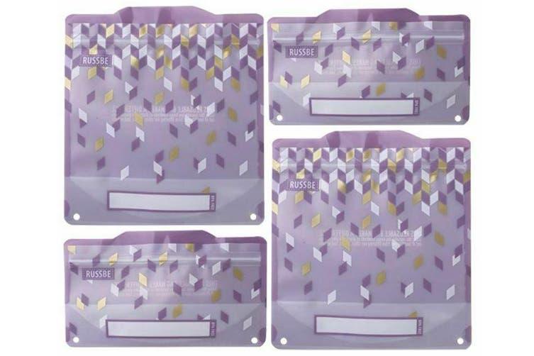 Set of 4 Reusable Snack School Sandwich Pouches Lunch Bag BPA Free Purple