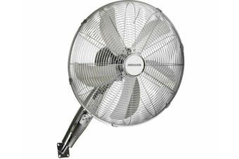 Heller Chrome Wall Mount Fan/Remote Control/3 Speed/Timer/Air Cooler 45cm