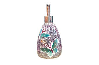Butterfly Glass Mosaic Soap Dispenser Pump Bottle Soap Holder Crystal Colourful