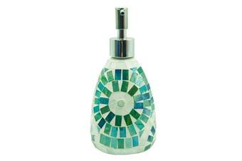 Green Aztec Glass Mosaic Soap Dispenser Pump Bottle Holder Crystal Colourful