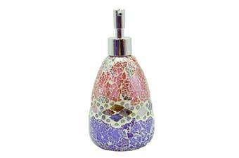 Pink Aztec Glass Mosaic Soap Dispenser Pump Bottle Holder Crystal Colourful