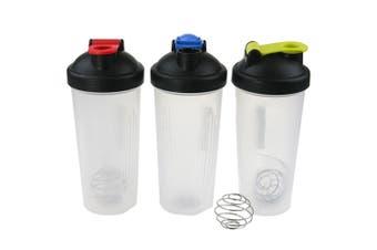 3x Protein Shaker 600ml Supplement Drink Blender Mixer Bottle Steel Ball
