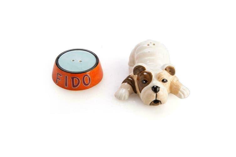 Collectible Salt & Pepper Novelty Set Kitchen Home Decor Creative Ceramic-Bulldog &Bowl