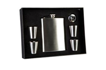 Portable Flask Stainless Steel with 4 Shot Glasses Funnel Purse Travel Set