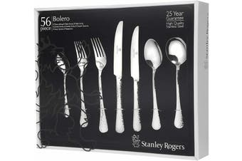 STANLEY ROGERS 56 Pieces Bolero Cutlery Gift Boxed Set Fork Knife Spoon