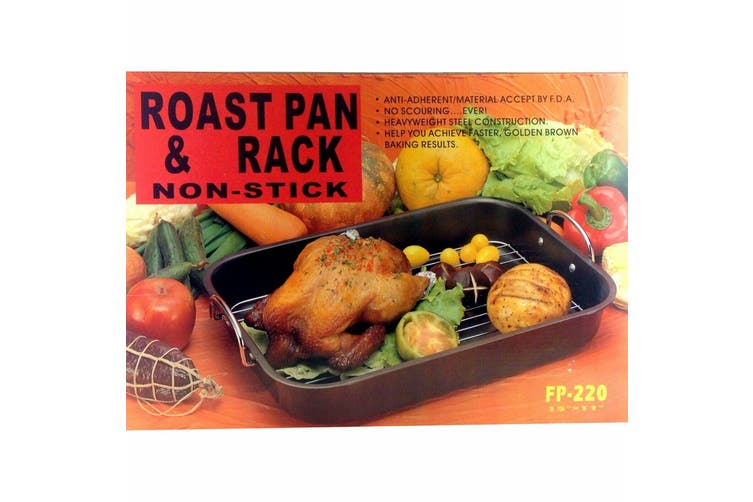 Non-stick Roasting Pan & Rack Baking Tray Oven Stainless Steel 39 x 29.5 x 7 cm