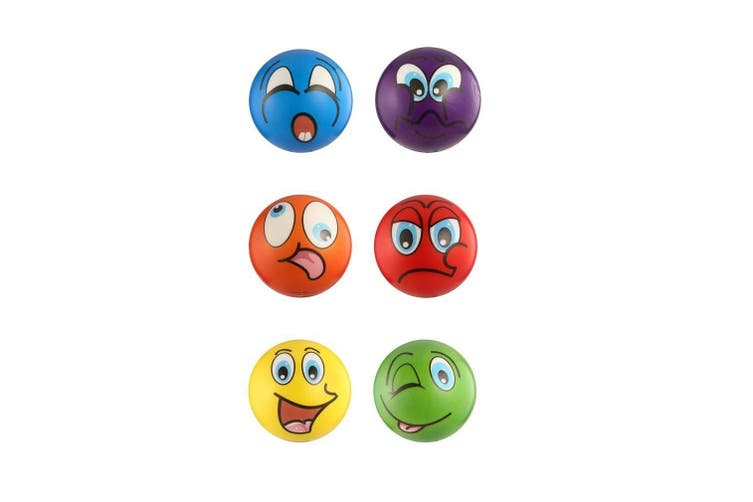 6x Smiley Face Stress Relief Ball Foam Hand Squeeze Soft Toy Antistress
