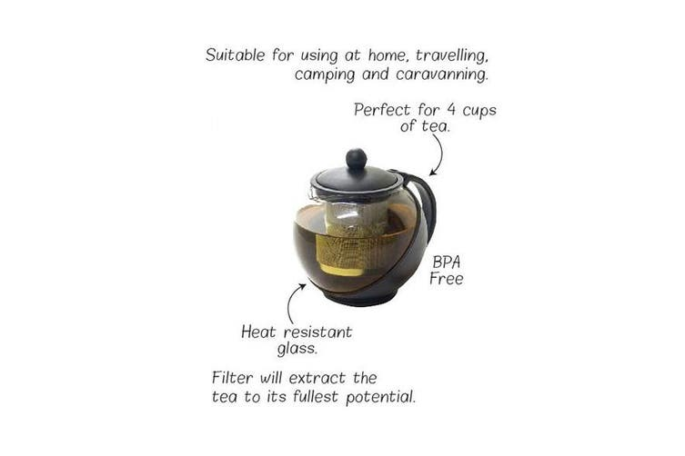 Teapot Tea Pot Heat Resistant Glass With Infuser Coffee BPA Free 4 Cups 1.25l