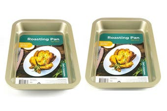 2 x OVEN / ROASTING PAN / BAKING TRAY TIN NON STICK 305 x 185 x 40mm