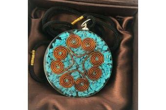 Orgonite Pendant Turquoise Heart Cooper Coil Gemstone Disc Reiki Energy