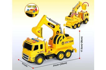 1:12 Scale Friction Truck Excavator with Sound and Lights Toy Construction