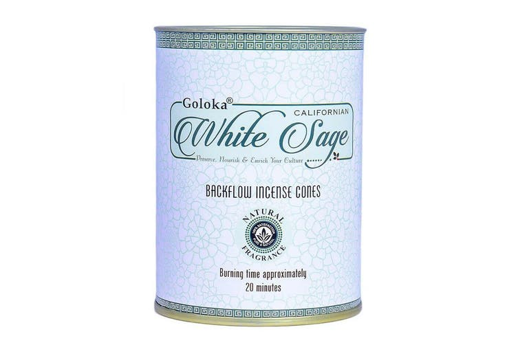 Goloka California White Sage 24 Backflow Incense Cones Meditation Fragrance