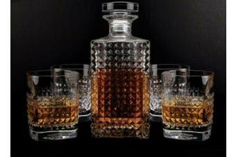 Vintage Scotch Whiskey Decanter Glass 750ml Set of 5 Pieces Bottle Tumbler