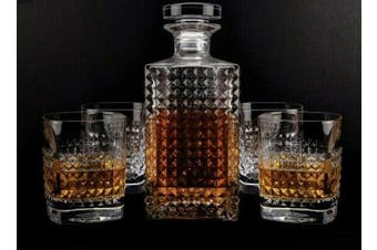 Vintage Scotch Whiskey Decanter Glass 750ml Set of 5 Pieces Bottle Tumbler