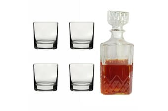 Wiltshire 4 Pieces 300ml Tumbler Decanter 1 Liter Scotch Whiskey Whisky Glass