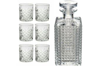 Combo Whisky Decanter Tumblers Dublin/Bottle Luigi Bormioli Crystal Set of 7 PC