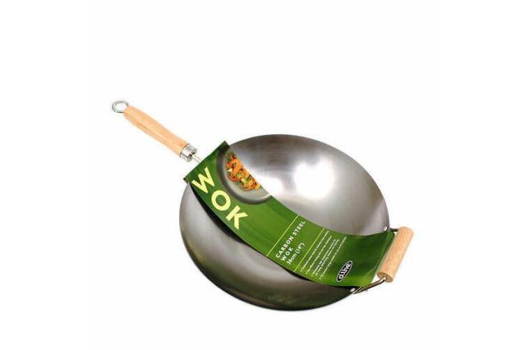 Large Wok Professional Carbon Steel Chinese Wood Handle Flat Base Stir Fry 36cm