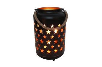 25cm Metal LED Lantern Light w Rope Hanger Star Design Lamp - Large - Black/Gold