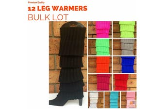12x LEG WARMERS Knitted Womens Costume Neon Dance Party Knit 80s BULK New - Eggplant